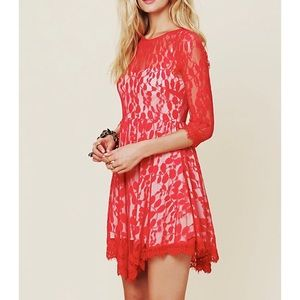 Free People Red Lace Floral Mesh Lined Dress